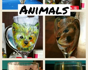 Hand painted animal glasses