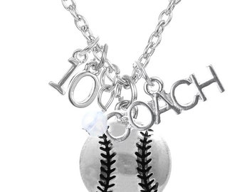 Free Ship! Customized Softball Coach,  Coach Necklace with Heart and Personalize with Softball Jersey Number and Heart Color.