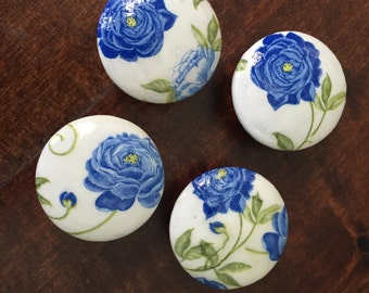 1.5 inch wooden blue peony decoupaged cabinet knobs drawer pulls