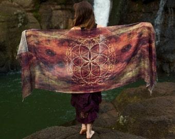 Seed of Life Butterfly Wings Pashmina Sarong Scarf Sacred Geometry, Moth Festival Shawl Gypsy Bohemian Clothing Digital Printing Ajjaya Rave