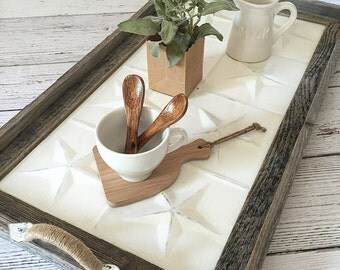 Serving Tray, Vintage Style Tray,  Barnwood and Ceiling Tin Tray, Rustic Serving Tray, Decorative Tray,Table Decor (Star Design)