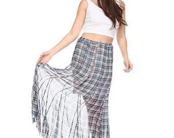 Sheer Checkered Print Skirt
