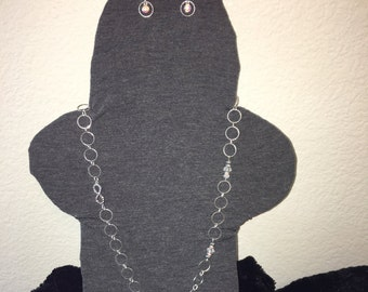Infinity necklace and Dangling Earring Set