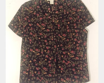 Vintage Hipster Floral Short Sleeve Button Down Collar Polyester Top 90s Shirt