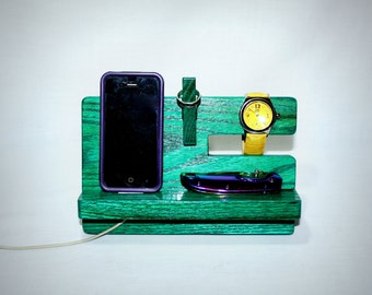 Docking Station' Phone Stand, Charging Station Valet, Nightstand Organization, Glasses Holder, TEAL, Mothers Day Gift, Father's Day Gift