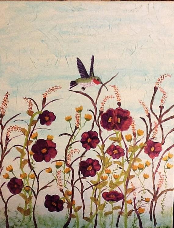 Hummingbird Heaven, purple flowers, gold flowers, floral painting with purple flowers, hummingbird painting, hummingbird art