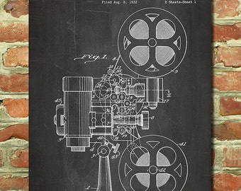 Movie Art Print, Movie Gift for Movie Buff Gift Movie Wall Decor, Movie Wall Art Movie Room Art Movie Lover Gift, Film Projector Poster P088