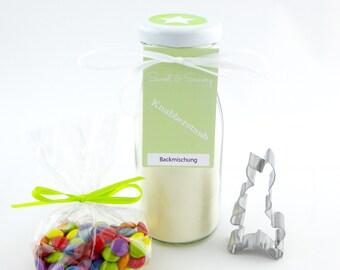 Geschenkset Hase Backmischung im Glas mit bunten Schokolinsen, Knusperhase I - ideal als Geschenk zu Ostern, Geburtstag, Einschulung, Kinder