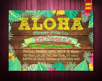 Aloha Invitation,Hawaiian Invitations,Luau Invitation,Hula Invitation,Luau Party, Hawaiian Party,Tropical,Hawaii,Hawaiian Invite,Luau Invite