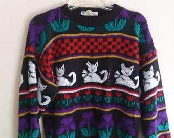 Kitsch Cat Print Pullover Sweater, Ugly Cat Sweater, Women's Chunky Pullover.