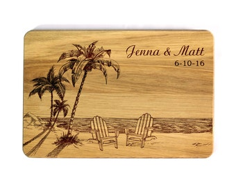 Cutting board Beach Wedding gift Personalized Cutting Board Personalized Wedding gift for couple Bridal Shower Gift for bride and groom