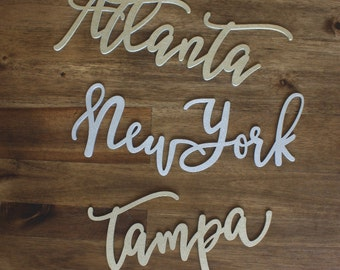 Custom City Hand Lettered Wall Decor PICK YOUR City