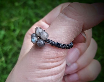Labradorite Multi Stone Stacked Ring - Size 8.75 - Natural Organic - Hematite Wire Wrap