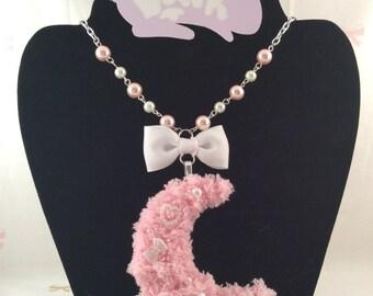 Kawaii Pink Fuzzy Moon Necklace