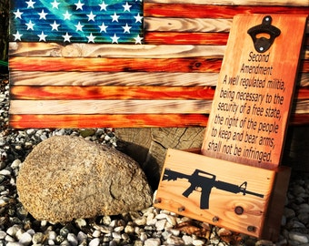 AR-15 and second amendment wooden bottle wall opener with key hanging hooks