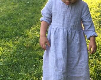 Toddler linen dress, girls dresses, girls summer dress, girls occasion dress, baby easter outfit, girls easter dress, linen dress