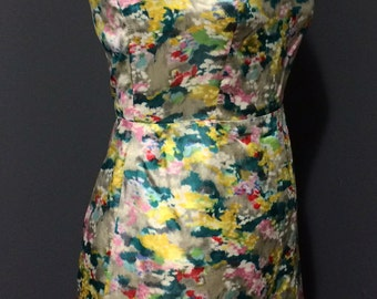Midcentury Silk Mini-Dress with Open Back and Abstract Print