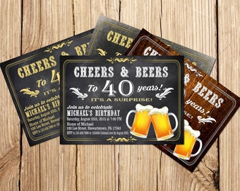 Surprise Cheers and beers birthday invitation, Beer Birthday Invitation, Beer birthday invitation, 40th birthday invitation for men