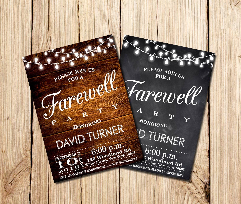 Farewell Party Invitation Farewell Invitation Rustic