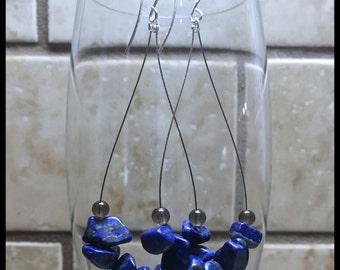 Lapis Lazuli Earrings, Silver Drop Earrings,  Lapis Lazuli, Lapis Earrings, Quartz Earrings, Smokey Quartz, Bohemian Earrings
