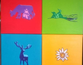 Acrylic collage four canvases mountain Idyll