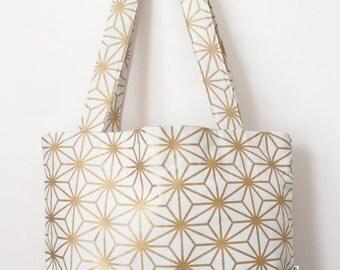 Metallic Gold and Cream Geometric Print Women's Tote Bag