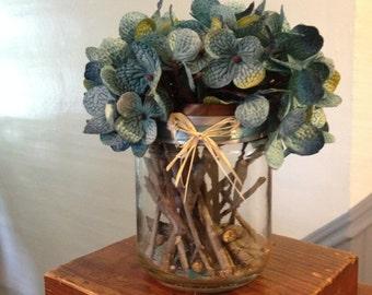 Rustic Blue & Cream Hydrangea Center Pieces