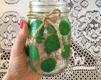Green Polkadot Drinking Glass