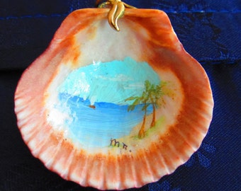 Hand Painted Shell Pendant