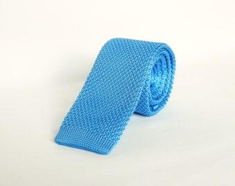 Mens Knitted Blue Tie. Skinny Tie Wedding Tie Mens Gift