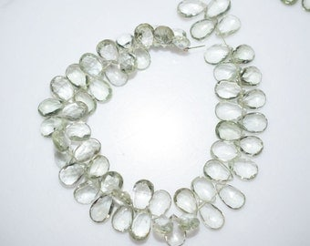 """Natural Green Amethyst Faceted Pear Shape Beads -Green Amethyst Pear Shape Briolette , 9x7 - 12x8 mm , 7"""" , BL940"""