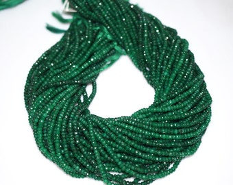 """Natural Dyed Emerald Rondelle Beads 16"""" Strand ,Dyed Emerald Faceted Rondelle Beads , 4 mm - MC067"""