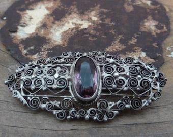 antique silver art nouveau brooch / rare amethyst silver 800 / vintage silver brooch / amethyst silver art nouveau brooch