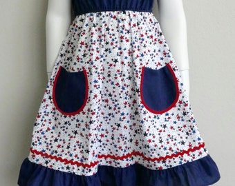 Navy Blue and Red and Blue Stars Patriotic 4th of July Girl's Dress with Front Pockets