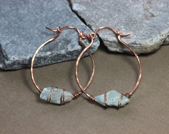 Kyanite and Copper Hoops Antiqued Hammered Copper Boho Wire Wrapped Blue Gemstone Rustic Primitive Jewelry