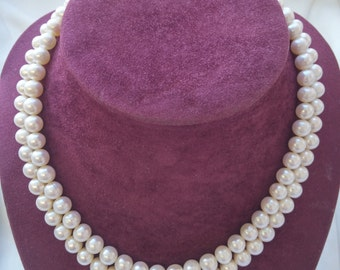 Genuine Fresh Water Pearl Double String Necklace, Pearl Necklace, Necklace Pearl (pearl size: 9 mm)