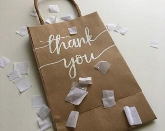 Thank You Gift Bag | Thank You Bag | Favor Bag | Personalized Bag | Custom Gift Bag | Kraft Bag | Hand Lettered