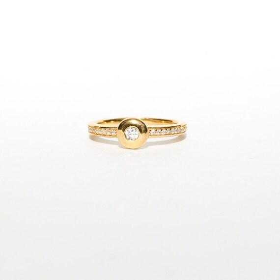 gold cz ring thin gold ring tiny ring ring tiny