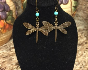 Large And Small Vintaj Brass Dragonfly Earrings