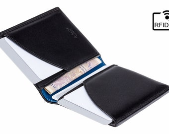 RFID Leather Wallet - Minimalist slim leather wallet / cardholder / card wallet - Black/Blue - A-SLIM - Origami - Mens Wallet - Card Case