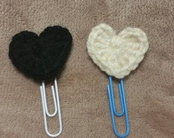 set of 2 crochet heart paper clips, planner clips or bookmarks