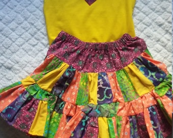 Girls ruffle skirt and matching top