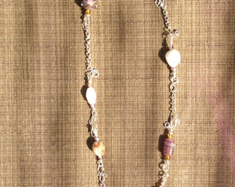 Necklace with lamp work glass beads, Czech glass beads and Italian glass beads.