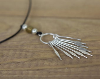 Black adjustable cord and silver pendant necklace