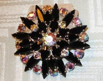 Vintage Black and Aurora Borealis Rhinestone Brooch