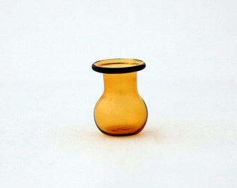 Miniature amber glass vase, glass collectables, handblown art glass, amber glass vase, gift for her, perfect for collection