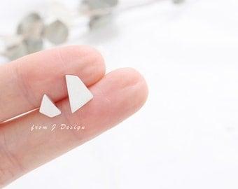 Sterling Silver Small Polygon Stud Earrings, Mismatched Stud Earrings