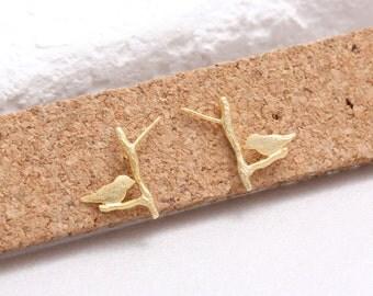 Bird on Twig Stud Earrings