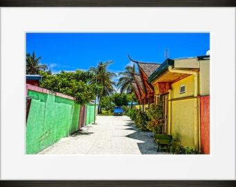 Island alley print Maldives photo, Maldivian photography, fine art, wall art, home decor, blue sky beach house sand alleyway.