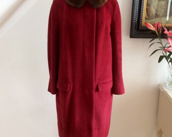 Vintage 1950s Red Mohair Coat Mink Collar Berg Mayfair Swagger Swing Back 50s Couture Pristine
